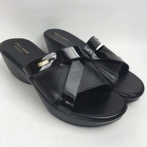 COLE HAAN Black Slides Wedge Sandals Sz 9.5B